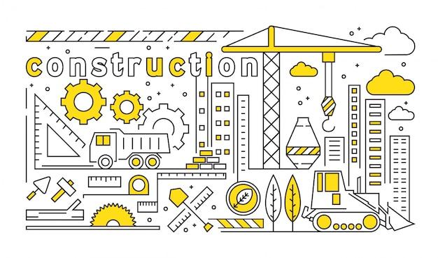 Dünnes liniendesign mit entwicklungsthema. jugend-gelbes gekritzel-illustrations-konzept Premium Vektoren