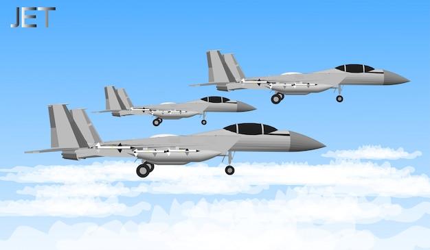 Düsenflugzeuge und kriegsschiffe für soldaten Premium Vektoren