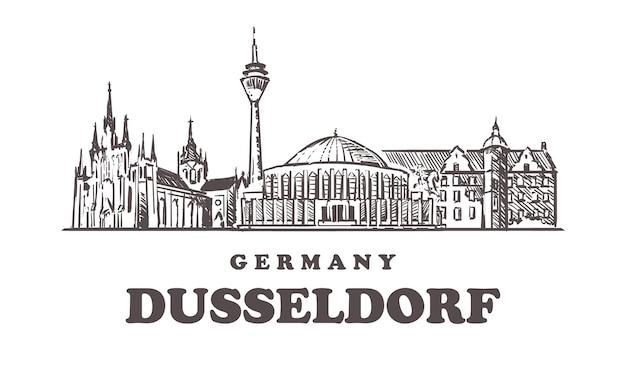 Düsseldorfer skyline in deutschland Premium Vektoren