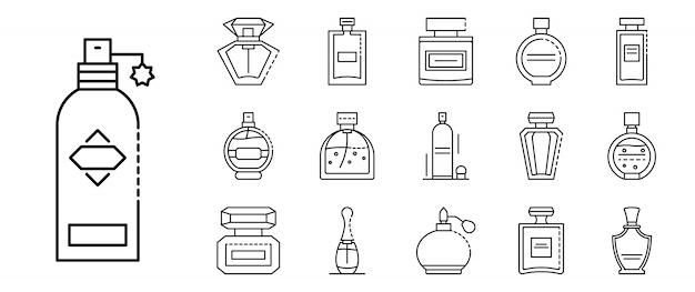Duftflaschenikonen eingestellt, entwurfsart Premium Vektoren