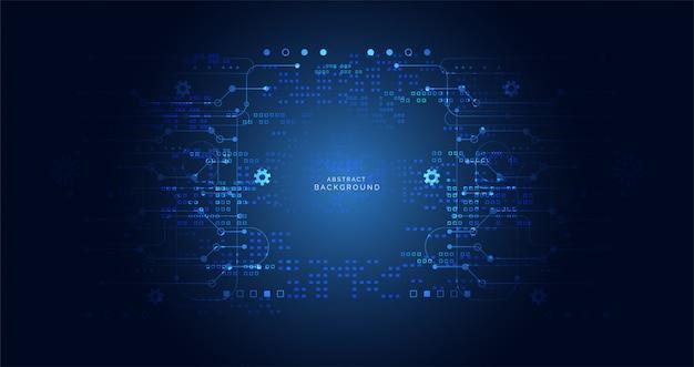 Dunkelblaue farbe der abstrakten digitalen cyber-technologie-leiterplatte Premium Vektoren