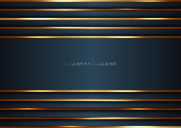 Dunkelblaue streifen mit goldenen linien, die überlappenden schichthintergrund-luxusstil beleuchten. Premium Vektoren