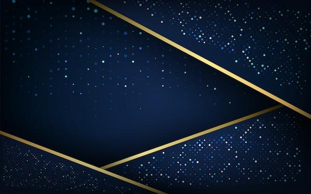 Dunkelblaue überlappungsschichten mit goldfunkelnhintergrund Premium Vektoren