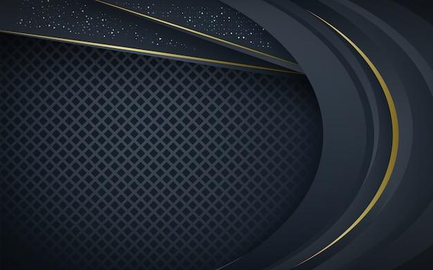Dunkelblaue überlappungsschichten mit silbernem funkelnhintergrund Premium Vektoren
