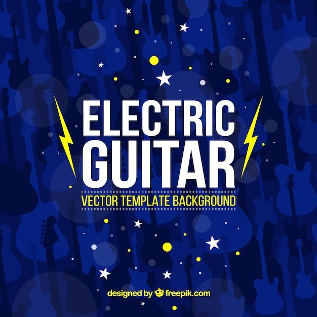 Dunkelblauen hintergrund mit dekorativen e-gitarren Kostenlosen Vektoren