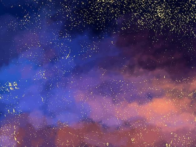 Dunkelblauer himmel der magischen nacht mit funkelnden sternen Premium Vektoren