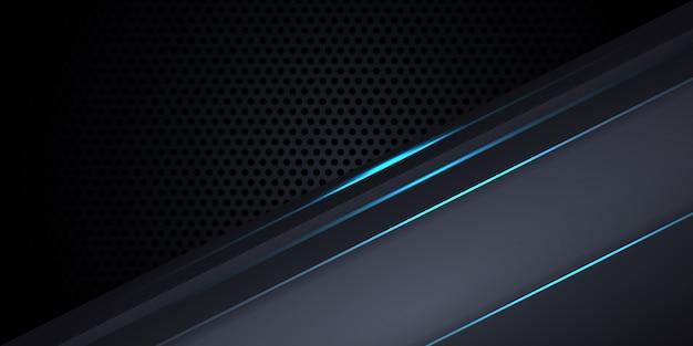 Dunkelgrauer hintergrund aus kohlefaser mit blauen leuchtenden linien und glanzlichtern. Premium Vektoren