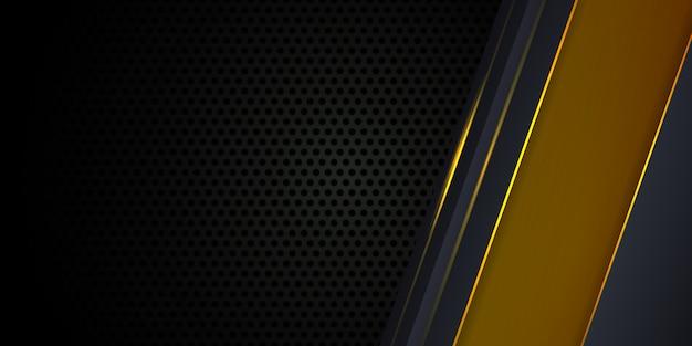 Dunkelgrauer hintergrund mit gelben leuchtenden linien Premium Vektoren