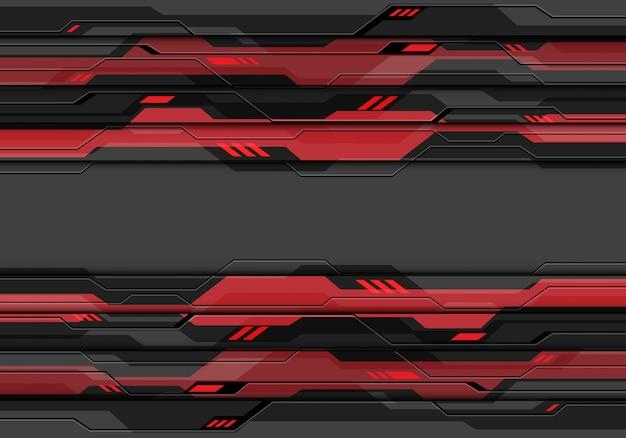 Dunkelgrauer metallischer cyberstromkreis mit energietechnologiehintergrund des roten lichtes Premium Vektoren