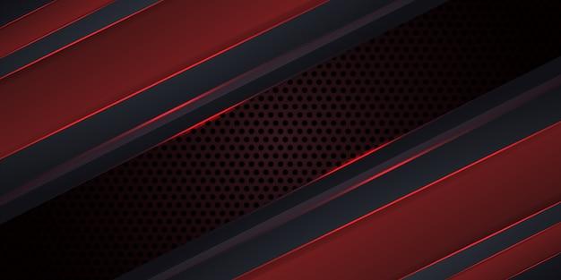 Dunkelroter hintergrund des kohlenstoffs mit leuchtenden linien. Premium Vektoren