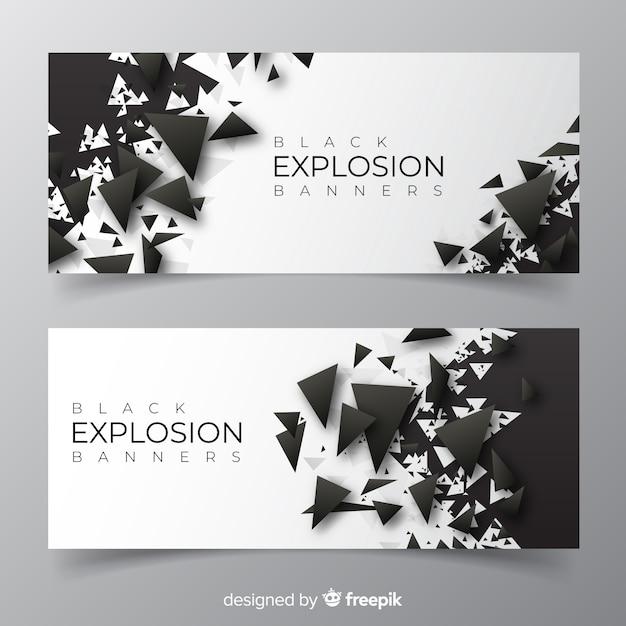 Dunkle explosion banner-sammlung Kostenlosen Vektoren