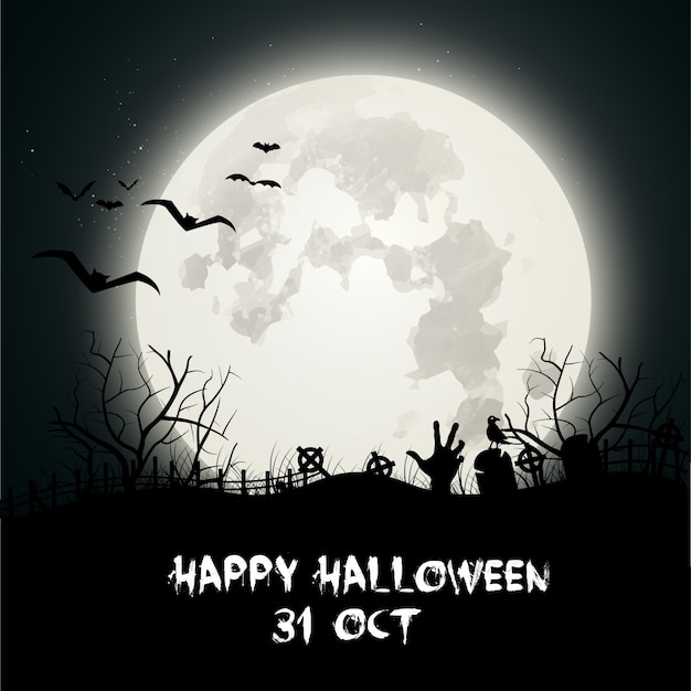 Dunkle Halloween-Hintergrund mit Friedhof | Download der kostenlosen ...