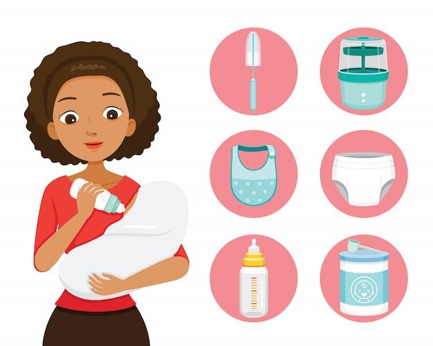 Dunkle haut mutter füttert baby mit milch in babyflasche. baby icons set Premium Vektoren