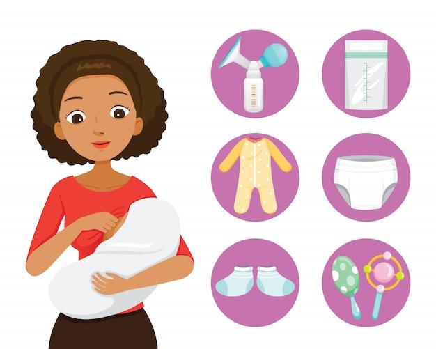 Dunkle haut mutter stillen und umarmen baby. baby icons set Premium Vektoren
