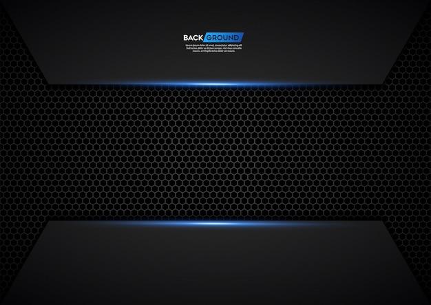 Dunkle hintergrundüberlappungsschicht mit silbernem funkeln und blaulicht Premium Vektoren