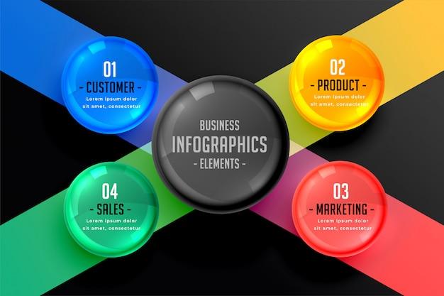 Dunkle infografik von vier schritten Kostenlosen Vektoren