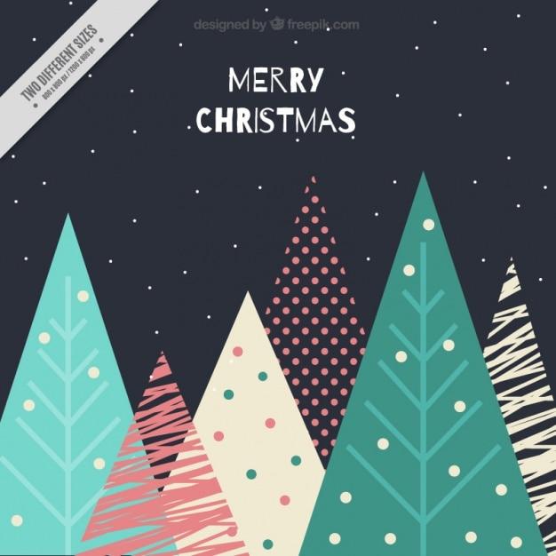 Dunkle merry christmas Hintergrund der geometrischen Bäume Kostenlose Vektoren