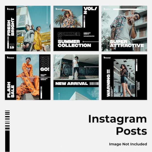 Dunkle mutige social media instagram banner Premium Vektoren