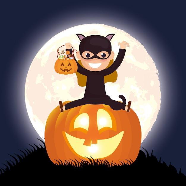 Dunkle nachtszene halloweens mit kürbis und mädchen verkleidet katze Kostenlosen Vektoren