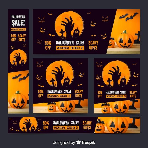 Dunkle sammlung halloween-netzverkaufsfahnen Kostenlosen Vektoren