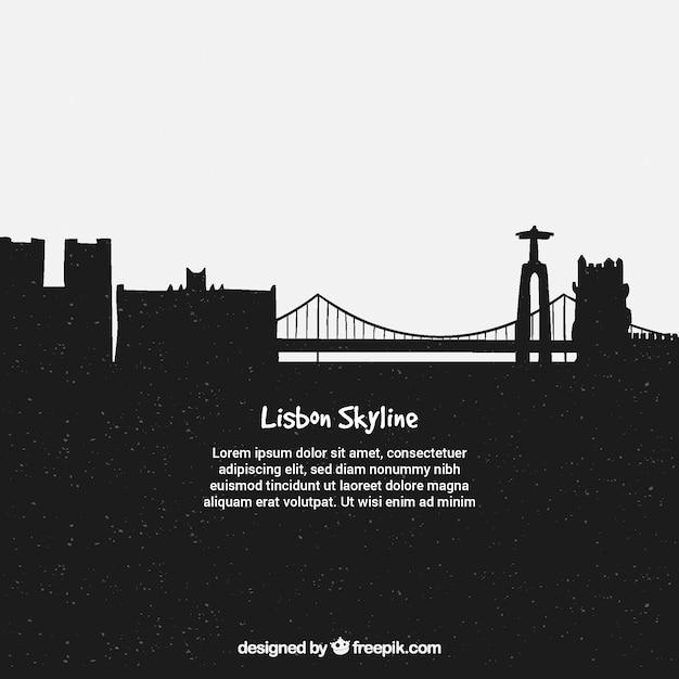 Dunkle skyline von lissabon Kostenlosen Vektoren