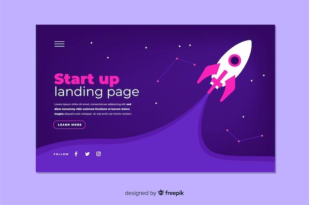 Dunkle start-landing-page mit raumschiff Kostenlosen Vektoren