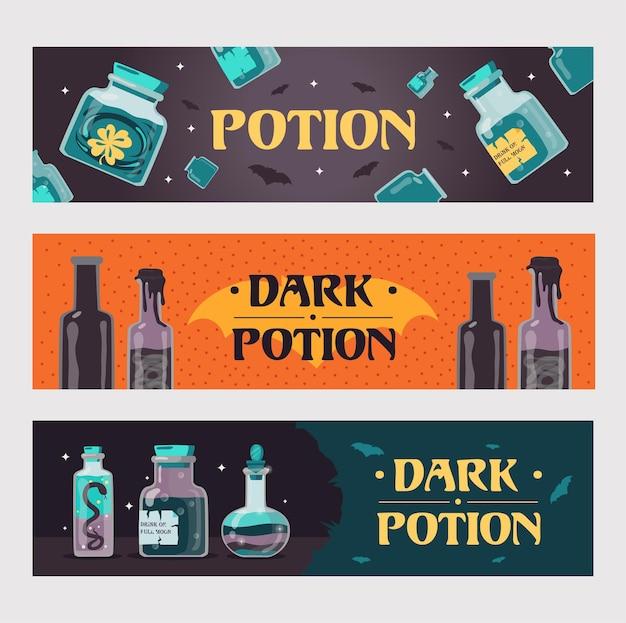 Dunkle trank banner gesetzt. magische flaschen mit hexengetränken oder vergiftet illustrationen mit text Kostenlosen Vektoren