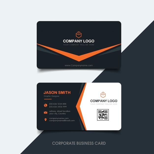 Dunkle und orange visitenkarte Premium Vektoren
