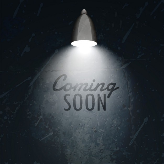 dunkle Wand mit Lampe glüht und kommt bald Text Kostenlose Vektoren