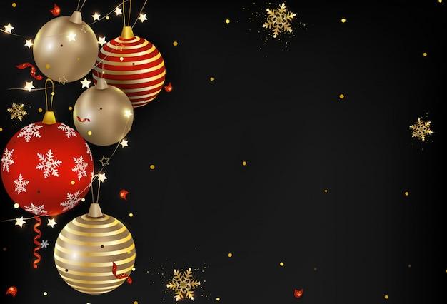 Dunkle weihnachtsbälle, lichter, konfetti, schneeflocken. neues jahr 2020. Premium Vektoren