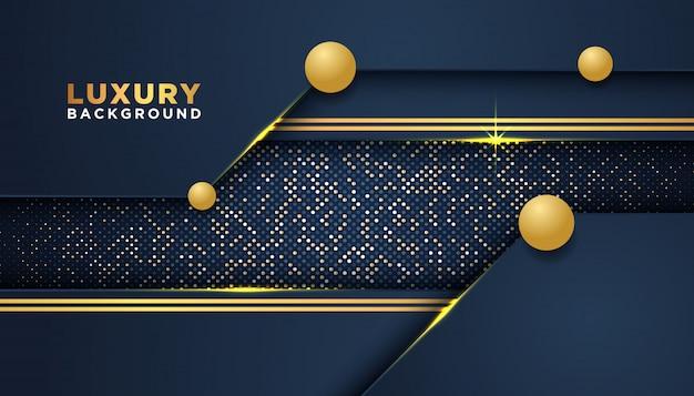 Dunkler abstrakter hintergrund mit deckungsschichten. golden glitters dots element dekoration. luxus-design-konzept. Premium Vektoren