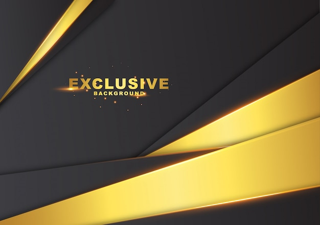 Dunkler abstrakter hintergrund mit luxuriöser goldfarbe Premium Vektoren
