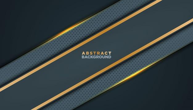 Dunkler abstrakter hintergrund mit schwarzen deckschichten. beschaffenheit mit goldener effektelementdekoration. Premium Vektoren