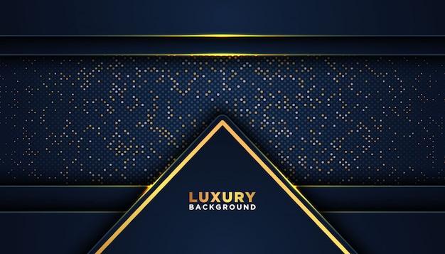 Dunkler abstrakter hintergrund mit überlappungsschichten. luxus-design-konzept. golden glitzernde punkte Premium Vektoren