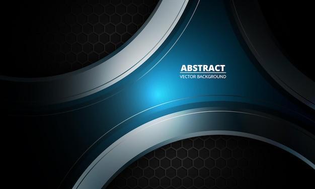 Dunkler futuristischer abstrakter blauer und grauer hintergrund mit sechseck-kohlefaser. Premium Vektoren