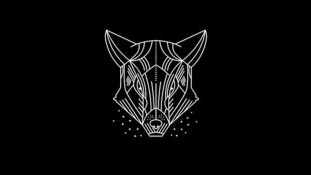 Dunkler gepard / wolf / wildes tier / linie kunstillustration Premium Vektoren