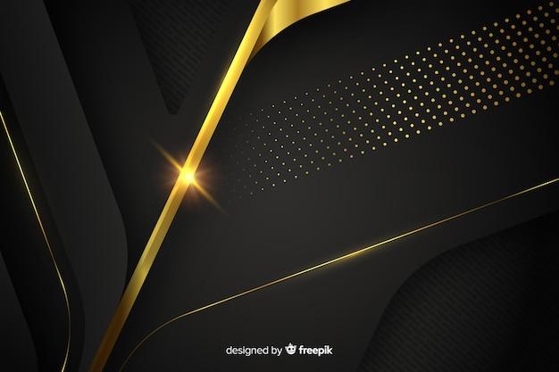 Dunkler hintergrund mit goldenen abstrakten formen Kostenlosen Vektoren
