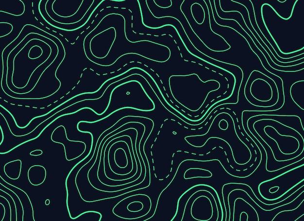 Dunkler hintergrund mit grüner topographischer konturnkarte Premium Vektoren