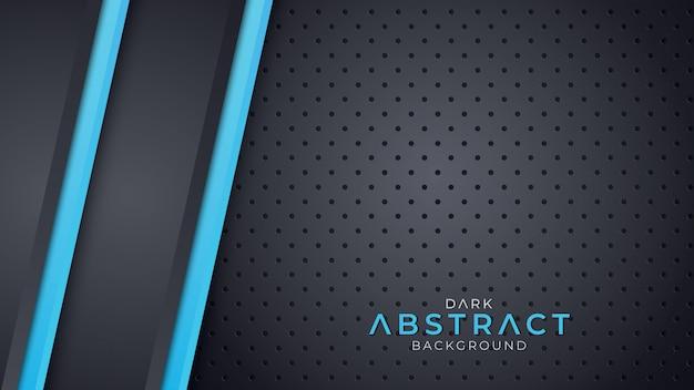 Dunkler hintergrund überlappungsschicht mit farbe der blauen linie Premium Vektoren