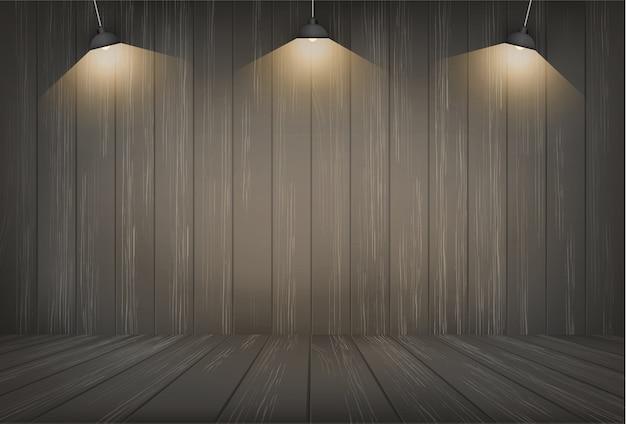 Dunkler hölzerner raumraumhintergrund und glühlampe. Premium Vektoren