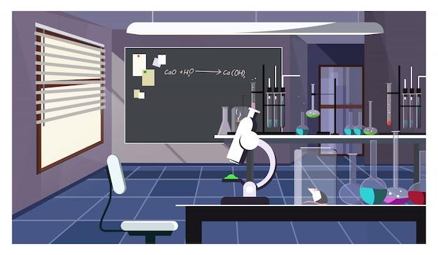 Dunkler laborraum mit glaswaren auf tabellenillustration Kostenlosen Vektoren