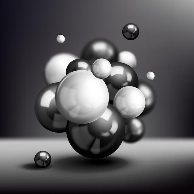 Dunkler molekülhintergrund der kugeln 3d Kostenlosen Vektoren