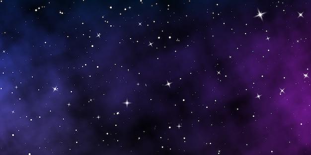 Dunkler nachthimmel. sternenhimmel farbhintergrund. unendlichkeitsraum mit glänzenden sternen. Premium Vektoren
