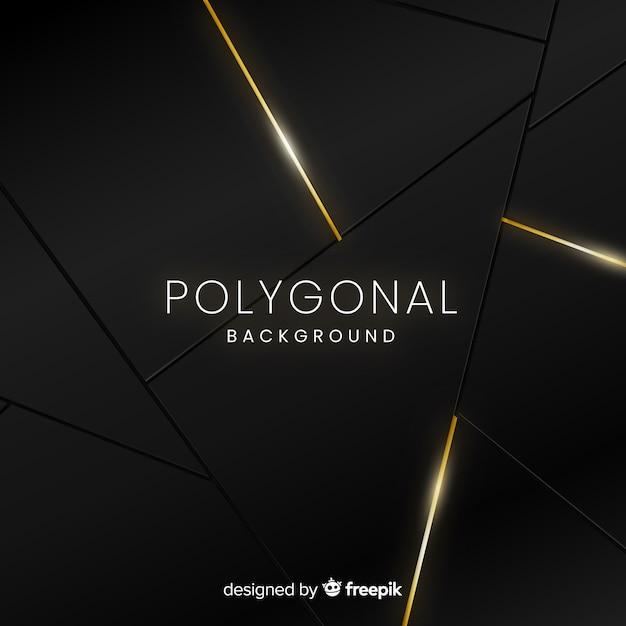 Dunkler und goldener polygonaler hintergrund Kostenlosen Vektoren