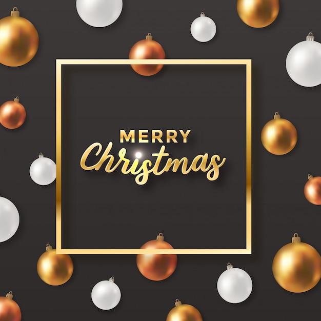 Dunkler weihnachtsgrußentwurf mit dekorbällen Premium Vektoren