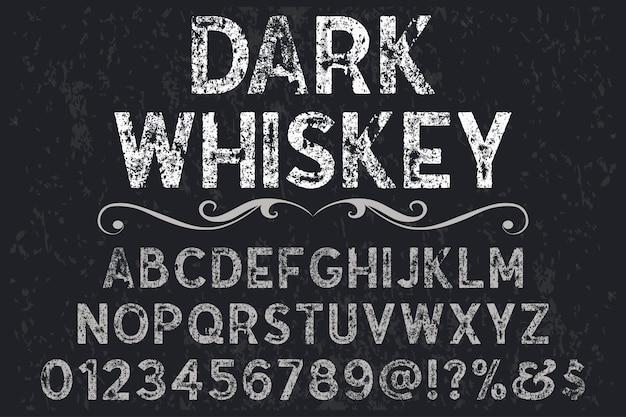 Dunkler whisky für das font shadow effect-etikettendesign Premium Vektoren