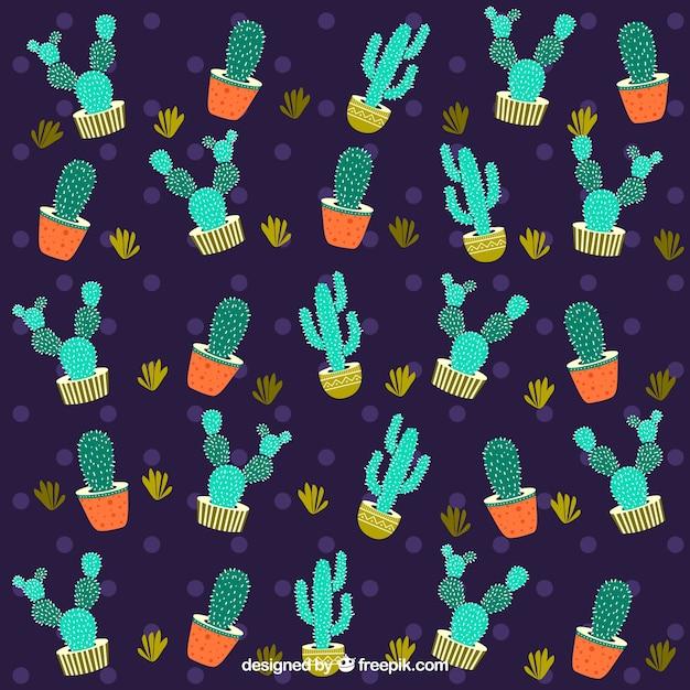 Dunkles kaktusmuster Kostenlosen Vektoren