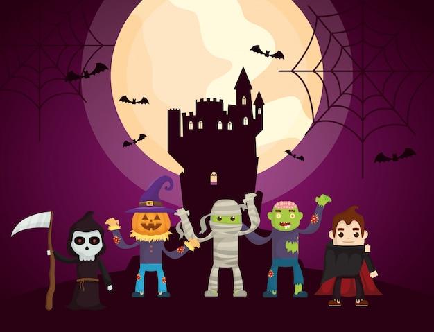 Dunkles schloss halloweens mit charakteren Kostenlosen Vektoren