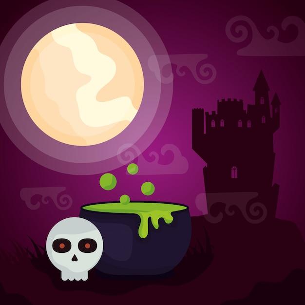 Dunkles schloss halloweens mit großem kessel Kostenlosen Vektoren