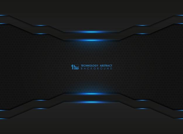 Dunkles sechseck der modernen technologie mit blauen lasern bedecken hintergrund. Premium Vektoren